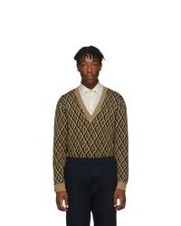 Pull à col en v imprimé marron clair Gucci