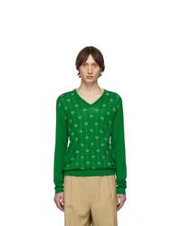 Pull à col en v imprimé vert Gucci