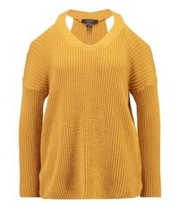 Pull à col en v jaune New Look