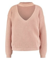 Pull à col en v marron clair Missguided