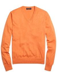 Pull à col en v orange