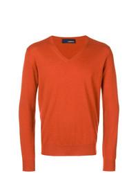 Pull à col en v orange Lardini