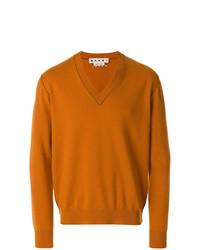 Pull à col en v orange Marni