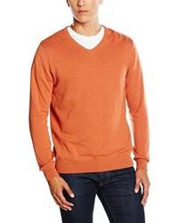 Pull à col en v orange Paul James Knitwear