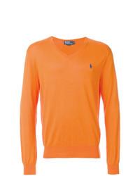 Pull à col en v orange Polo Ralph Lauren