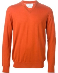 Pull à col en v orange Salvatore Ferragamo
