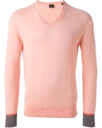 Pull à col en v rose Paul Smith