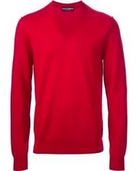 Pull à col en v rouge Dolce & Gabbana
