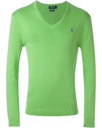 Pull à col en v vert Polo Ralph Lauren