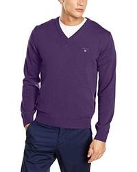 Pull à col en v violet Gant