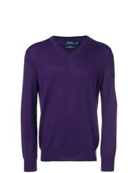 Pull à col en v violet Polo Ralph Lauren