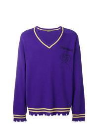 Pull à col en v violet Riccardo Comi