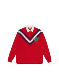 Pull à col polo à motif zigzag rouge Gucci