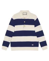 Pull à col polo à rayures horizontales blanc et bleu marine Gucci