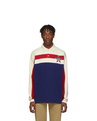 Pull à col polo à rayures horizontales blanc et rouge et bleu marine Gucci