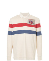 Pull à col polo à rayures horizontales blanc et rouge et bleu marine Kent & Curwen