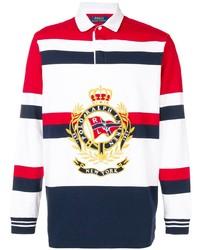Pull à col polo à rayures horizontales blanc et rouge et bleu marine Polo Ralph Lauren