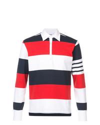 Pull à col polo à rayures horizontales blanc et rouge et bleu marine Thom Browne