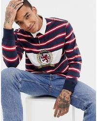 Pull à col polo à rayures horizontales blanc et rouge et bleu marine Tommy Jeans