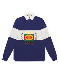 Pull à col polo à rayures horizontales bleu marine et blanc Gucci