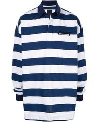 Pull à col polo à rayures horizontales bleu marine et blanc Juun.J