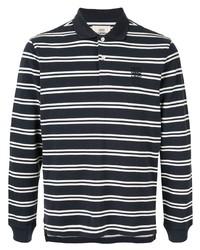 Pull à col polo à rayures horizontales bleu marine et blanc Kent & Curwen