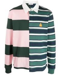 Pull à col polo à rayures horizontales multicolore Lanvin