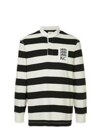 Pull à col polo à rayures horizontales noir et blanc Kent & Curwen