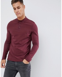 Pull à col polo bordeaux ASOS DESIGN
