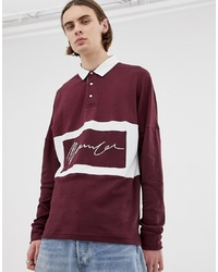 Pull à col polo bordeaux Mennace
