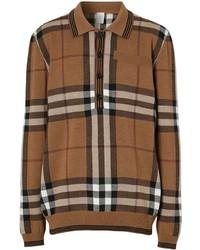 Pull à col polo en laine à carreaux marron Burberry