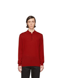 Pull à col polo en laine rouge Lanvin