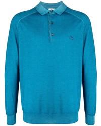Pull à col polo en laine turquoise Etro