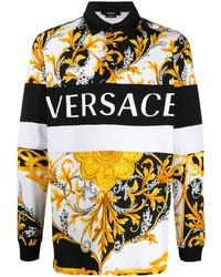 Pull à col polo imprimé blanc Versace