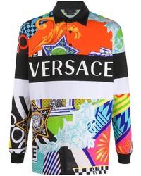 Pull à col polo imprimé multicolore Versace