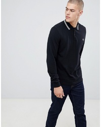 Pull à col polo noir et blanc Fred Perry