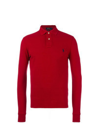 Pull à col polo rouge