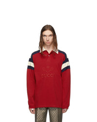 Pull à col polo rouge Gucci