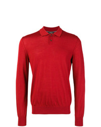 Pull à col polo rouge Z Zegna