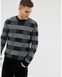 Pull à col rond à carreaux noir Burton Menswear