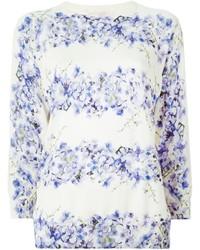 Pull à col rond à fleurs blanc et bleu Giambattista Valli