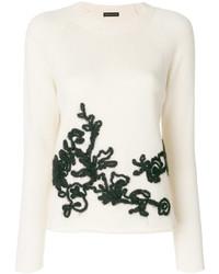 Pull à col rond à fleurs blanc Etro