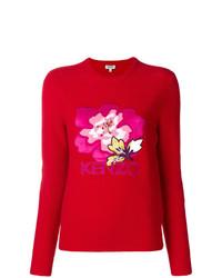 Pull à col rond à fleurs rouge Kenzo