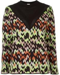 Pull à col rond à motif zigzag multicolore