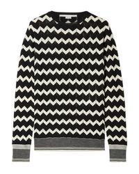 Pull à col rond à motif zigzag noir et blanc Stella McCartney