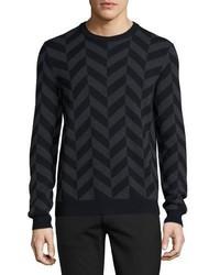 Pull à col rond à motif zigzag noir