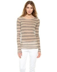 Pull à col rond à rayures horizontales beige Enza Costa