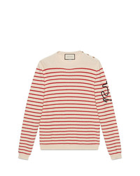 Pull à col rond à rayures horizontales beige Gucci