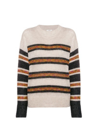 Pull à col rond à rayures horizontales beige Isabel Marant Etoile