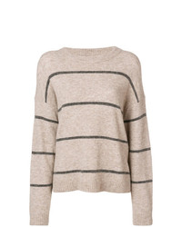Pull à col rond à rayures horizontales beige Luisa Cerano